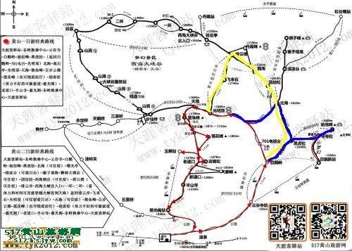 黄山旅游手绘地图